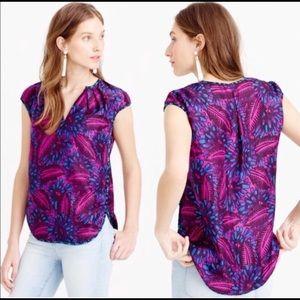 J Crew Midnight Floral Cocoon Silk Top